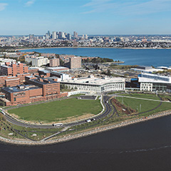 UMass Boston campus with the city of Boston in the back.