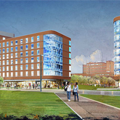 Render of UMass Boston Residence Halls opening Fall of 2018