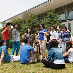 Students on a UMass Boston tour